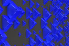Blue rectangular shapes of random size on black background. Wall of cubes. Abstract background. 3D rendering illustration Royalty Free Stock Photography