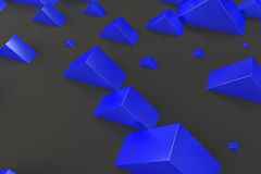 Blue rectangular shapes of random size on black background. Wall of cubes. Abstract background. 3D rendering illustration Stock Image