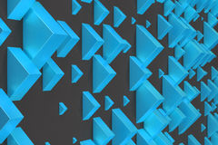 Blue rectangular shapes of random size on black background. Wall of cubes. Abstract background. 3D rendering illustration Royalty Free Stock Images
