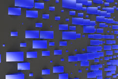 Blue rectangular shapes of random size on black background. Wall of cubes. Abstract background. 3D rendering illustration Royalty Free Stock Image