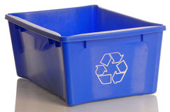 Blue recycle bin. Isolated on a white background Stock Images
