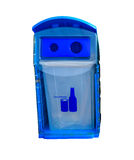 Blue recycle bin for cans and bottles isolated on white Royalty Free Stock Photos