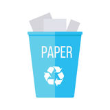 Blue Recycle Garbage Bin with Paper. Reuse or reduce symbol. Plastic recycle trash can. Trash can icon in flat. Waste recycling. Environmental protection Royalty Free Stock Image