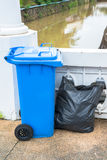 The blue recycle garbage can and garbage bag Stock Photos