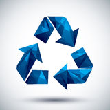 Blue recycle geometric icon made in 3d modern style, best for us. E as symbol or design element Royalty Free Stock Image