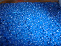 Blue recycled polyethylene pellet. Blue recycled plastic pellet Royalty Free Stock Images