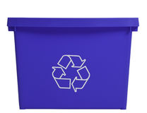 Blue recycling bin, frontal view Stock Photo