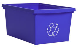 Blue recycling bin isolated on white. ProPhoto RGB color space. Clipping Path included Stock Photography