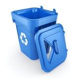 Blue Recycling Bin Stock Photography