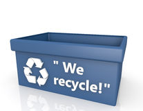 Blue recycling box Stock Image
