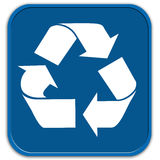 Blue recycling button Stock Images