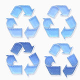 Blue recycling signs Royalty Free Stock Photos