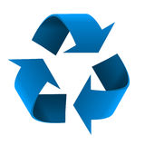 Blue Recycling Symbol. Blue 3D recycling symbol isolated on white background Stock Photos