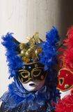 Blue and red. Mask of carnival. Great event in Venice Stock Photos