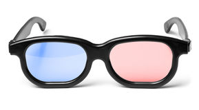 Blue red 3D cinema glasses. 3D cinema glasses with blue and red glass royalty free stock photo