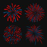 Blue and red abstract firework 4 style vector design Stock Images