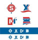 Blue red alphabet letter icon logo set vector illustration