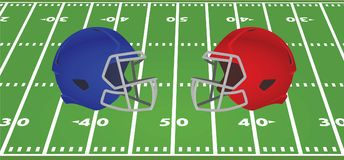 Blue and red american football helmet in front of field. Vector illustration Royalty Free Stock Photo
