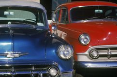 A blue and red antique car in Hollywood, California Stock Images