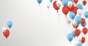 Blue Red Balloons Cover Header. Blue, white and red balloons on the gray background Royalty Free Stock Photos