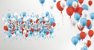 Blue Red Balloons Rhombus Oktoberfest Header. Blue, white and red balloons with text Oktoberfest Stock Images