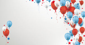 Blue Red Balloons Stars Cover Header. Blue, white and red balloons and stars on the gray background Stock Photos
