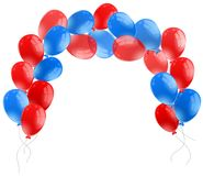 Blue and red balloons on white background. Illustration Stock Photo