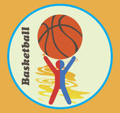 Blue red basketball emblem Stock Photos