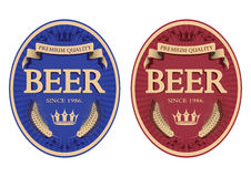 Blue and red beer label, vector illustration Royalty Free Stock Photo