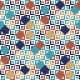 Blue red beige and white tiles geometric seamless pattern, vector Stock Photos