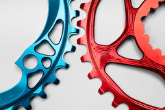 Blue and Red Bicycle chainring Stock Photography