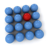 Blue and red billiard balls square. 3D rendering of blue and red billiard balls forming a square shape Stock Photos