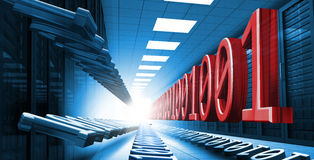 Blue and red binary code in data center hall leading to light Stock Photography