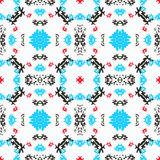 Blue red black objects on white background seamless pattern vector illustration Royalty Free Stock Photography