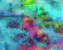 Blue and red. Of the bleeding and blurring caused by abstract painting Stock Image