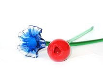 Blue and Red Blown Art Glass Flowers Royalty Free Stock Photography
