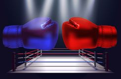 Blue and red boxing gloves facing each other on abstract. Boxing ring background royalty free illustration