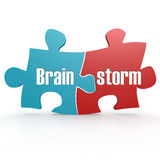 Blue and red with brainstorm puzzle Royalty Free Stock Images