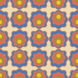 Blue and red bright pattern. Decorative floral vector pattern on beige background Stock Images