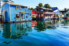 Blue Red  Brown Houseboats Victoria Canada Stock Images