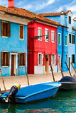 Blue And Red Buildings in Burano Stock Image