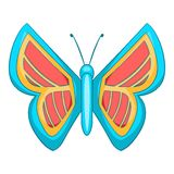 Blue and red butterfly icon, cartoon style. Blue and red butterfly icon. Cartoon illustration of butterfly vector icon for web design Royalty Free Stock Image