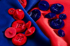 Blue and red buttons Stock Photo