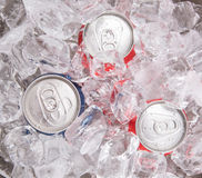 Blue and Red Can Cola Drinks Stock Photo