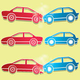 Blue and red car crash icons Royalty Free Stock Photos