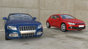 Blue And Red Cars Out Front Royalty Free Stock Photography