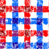 Blue and red checkered grunge gingham seamless pattern, vector Royalty Free Stock Photo