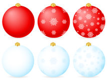 Blue and red christmas balls Royalty Free Stock Images