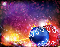 Blue and red Christmas balls. Blue and red Christmas ball decoration on abstract sparkling background Stock Image