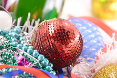 Blue and red Christmas balls close up Royalty Free Stock Photos